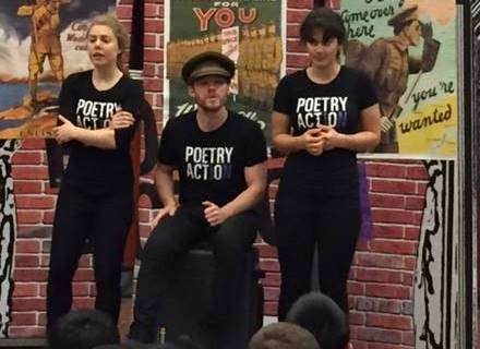 Poetry in Action performers Stephanie McLelland, Tom Nauta, Grace Naoum, 2015. Photo: Bryce Youngman