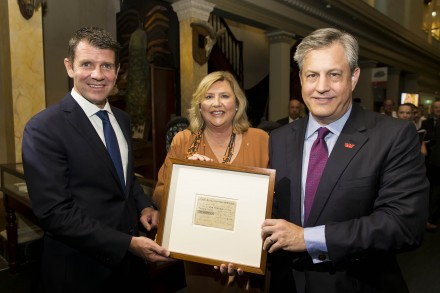L to R: NSW Premier Mike Baird, Kim McKay AO, Executive Director and CEO, Australian Museum and Brian Hartzer, Westpac Chief Executive Officer. Photo: Alexander Mayes.