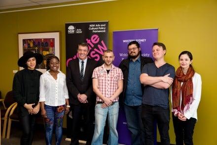 Parliamentary Secretary to the Premier for Western Sydney Ray Williams with emerging Western Sydney writers. Photo: Matt Sun.