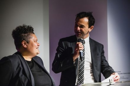 Michael Brealey, A/Executive Director, Arts NSW presenting the 2017 NSW Visual Artist Fellowship to Salote Tawale. Photo: Document Photography