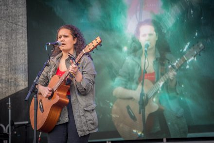 Photo of Nikai Stewart performing at the Giiyong Festival in 2018. Photo by David Rogers.