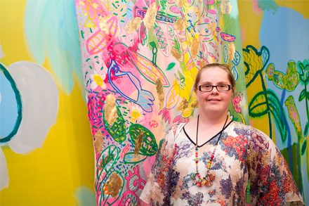 Emily Crockford, Studio A, in front of her collaborative work with Rosie Deacon in the Cement Fondu Project Space, 2018, photograph by Document Photography