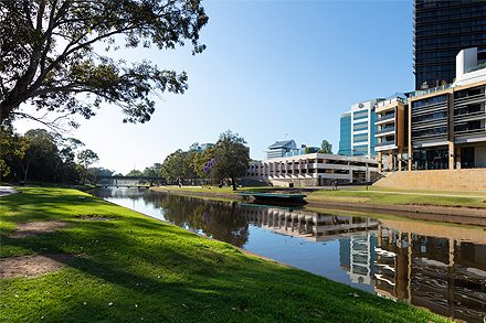 View of the site from the north bank of the Parramatta River (facing south) © Malcolm Reading Consultants Dianna Snape