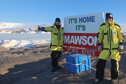Dr Jesse Blackadder and Jane Allen at Mawson Station, Antarctica.