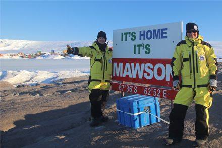 Dr Jesse Blackadder and Jane Allen at Mawson Station, Antarctica.