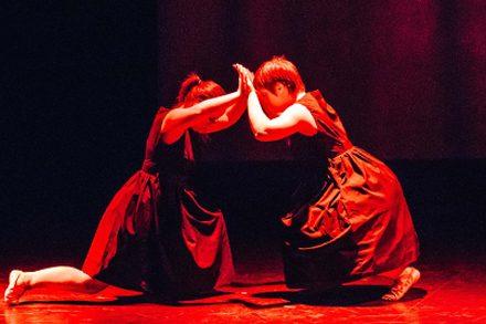"Tara Coughlan and Sinead Skorka Brennan performing ""Gemini"" at the Escalate III performance series in Canberra during Dance Week. Choreography by Liz Lea. Photo by Andrew Sikorski."