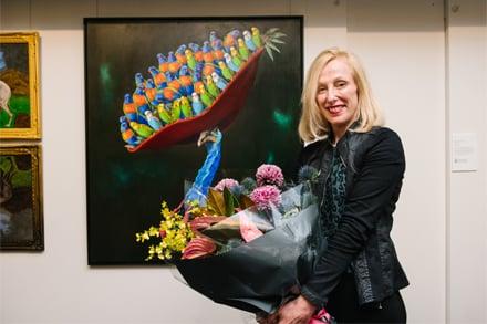 Ravenswood Australian Women's Art Prize Professional Artist Winner Joanna Braithwaite with her artwork, Bold and the Beautiful.