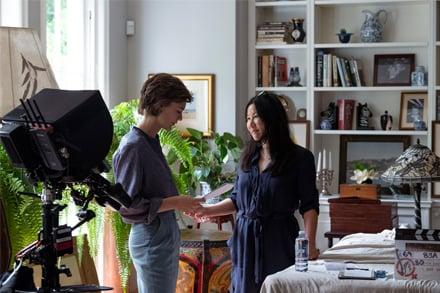 Image: Tilda Cobham-Hervey and Unjoo Moon behind-the-scenes on I Am Woman. Photo by Lisa Tomasetti.