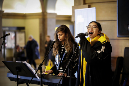 Image: TAFE NSW Eora students Khadija and Olivia performing in Make Music Day 2019.