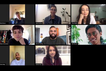 The 2020 NSW Visual Arts Emerging Fellowship finalists: (From top left) Kate Brown, Julia Gutman, Tiyan Baker, Nadia Hernández, Dennis Golding, Akil Ahamat, Tarik Ahlip and Kirtika Kain.