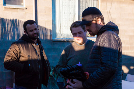 Image: supplied (L- R) Majhid Heath, Rob Braslin and Tom Waugh on the set of Vale Light.