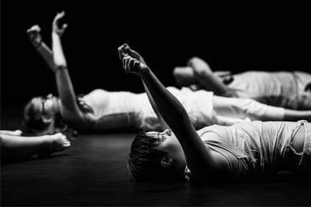 Sprung!! Senior Dance Ensemble in O'How I Dreamt of Things Impossible development 2019, NORPA L – R: Kane Shields, Tallula Bourne, Max McAuley, Tara Coughlan, Sinead Skorka Brennan, Zac Mifsud, Alice Bosheinen. Photo by Kate Holmes Photographer
