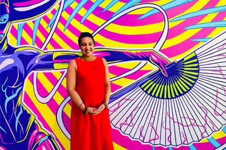 Amrit Gill in front of James Jirat Patradoon: ULTRA. Photo by Mariam Arcilla.