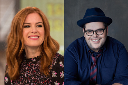 L-R: Isla Fisher. Credit: Supplied by Stan & NBCUniversal. Josh Gad. Credit: Photo by Crawford Shippey, supplied by Stan & NBCUniversal.