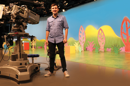 2018 Createability intern Joel Pragnell on the set of ABC's Play School. Image: courtesy Joel Pragnell